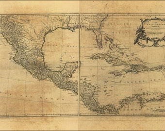 16x24 Poster; Map Of West Indies Florida Cuba Mexico 1768
