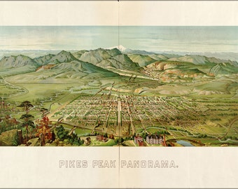 16x24 Poster; Birdseye View Map Of Colorado Springs From Pikes Peak 1890