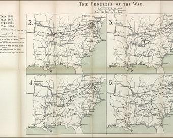 16x24 Poster; Map Of Progress Of Civil War, 1861-1864