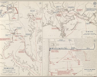 16x24 Poster; War Of 1812 Map Of Washington D.C. Baltimore New Orleans 1814