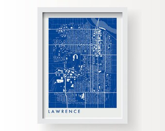 LAWRENCE KANSAS Map Print - graphic drawing art poster University Of Kansas Jayhawks