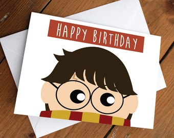 HARRY POTTER CARD // happy birthday, love, friendship, cute, greeting card, ron weasley, hermione, best friends
