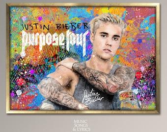 Justin Bieber Purpose Tour Justin Bieber poster. Music Poster, Justin Bieber Art, Room Decor, Gifts for Musician, Musicians Gift, Musicians