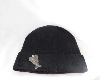 Simple Black Toddler Beanie with Angel Wing Brooch