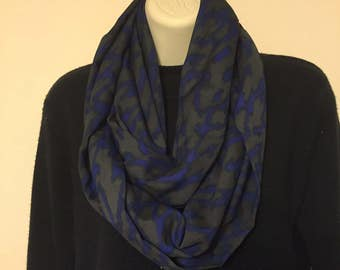 Grey and royal blue infinity scarf