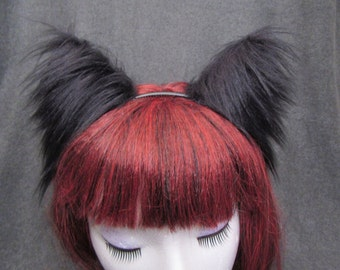 Black or Gray Fox/Wolf/Cat Ears- Long Faux Fur- Great Cat, Dog or any Cosplay/Anime Costume-  Long Soft Fashion Faux fur