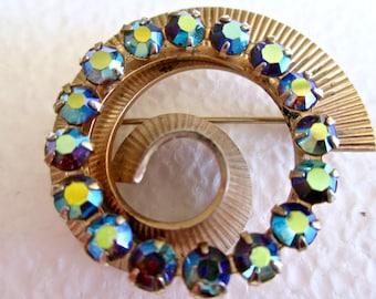 Vintage Pin Brooch Aurora Borealis Stones Gold Tone Metal Spiral Circular
