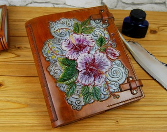 Hibiscus Leather journal, Handmade Journal, Personalized Journal, Gift for Her, Leather Notebook, Diary, Flower Journal, A5 Journal, OOAK