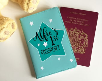 Personalised Children Baby First Passport Passport Cover - FREE POSTAGE