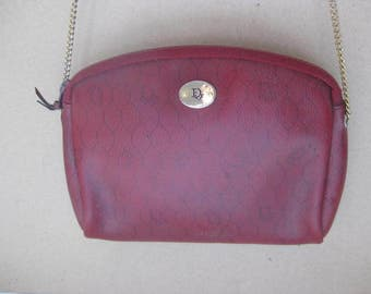 CRISTIAN DIOR ! French small red leatherette shoulderbag, eveningbag.