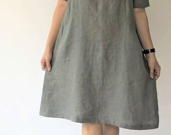 Linen Dress - Flare Summer Dress, Linen Tunic, Loose Fitting, Gray Dress Half Sleeves - A-Line dress