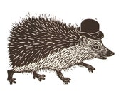 "Handmade Signed Lino Print ""Hedgehog In A Hat"". By Laura Robertson."