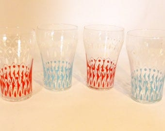 Set of 4 mid-century 1/3 pint glasses in turquoise and red, made in France – original from the 1960s
