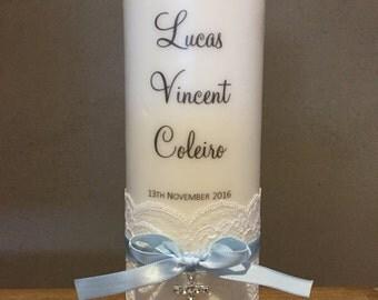 Personalised Baptism candle, Personalised Christening candle, Baptism candle, boy baptism candle, blue baptism  candle
