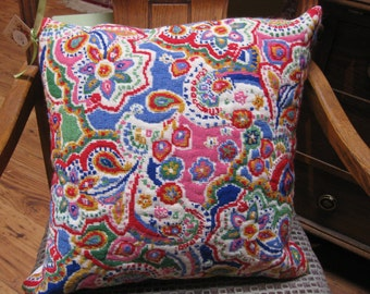 completed needlepoint pillow