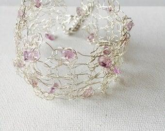 Amethyst Silver Crochet Wire Cuff Bracelet