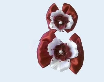 Burgundy Flower Hair Bow