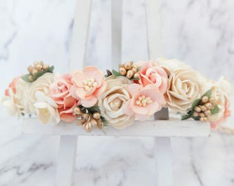 Ivory peach gold flower crown - wedding floral hair wreath - flower headpiece - flower hair accessories for girls