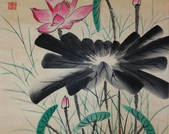 """Vintage Chinese watercolor floral painting on paper, artist signed and sealed, After """"Wang Xuetao 王雪涛款"""""""