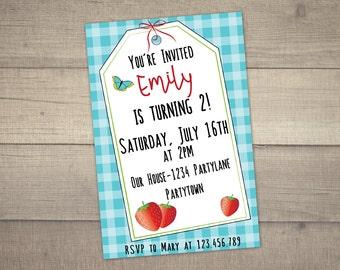 erdbeer einladung | etsy, Einladung