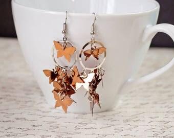 Copper Color Butterfly Confetti Cascade Earrings