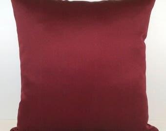 Solid Burgundy Pillow, Throw Pillow Cover, Decorative Pillow Cover, Cushion Cover, Accent Pillow, Satin Blend, Pillowcase, Modern pillow.