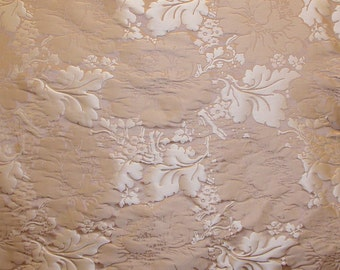 SCALAMANDRE La Dolce Vita FLORAL DAMASK Silk Fabric 10 yards Latte Beige