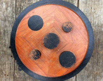 Vintage Wooden Foundry Mold - Black and Tan Round