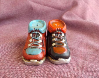 Vintage Old Work Boots, Salt and Pepper Shakers, Ceramic