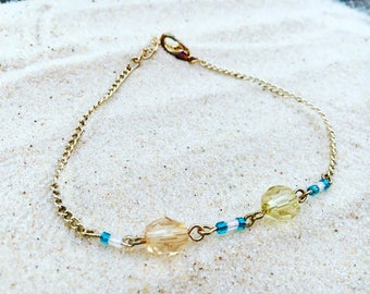 Beaded bracelet, yellow, blue, white, adjustable