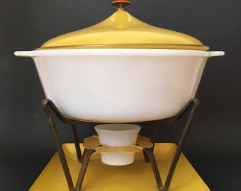 Fire King Chafing Dish and Stand Yellow Enamel With Brass Warming Stand Mid Century Modern Retro Atomic Serving Dish