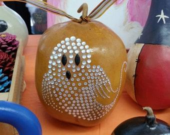 Halloween Gourd, Rustic Gourd, Ghost Embellished