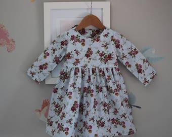 Toddler Girls Dress Size1 / Longsleeve Dress / Floral Dress / babies clothing  / 12-24 Summer Dress / vintage style dress
