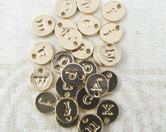 Light Gold Lower Case Letters Mix n' Match ANY 5 LETTERS 5 charms per package  ALF021-5GL