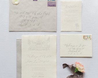 Custom Calligraphy Wedding Invitation - Pacific - Flat, Foil, or Letterpress Printing