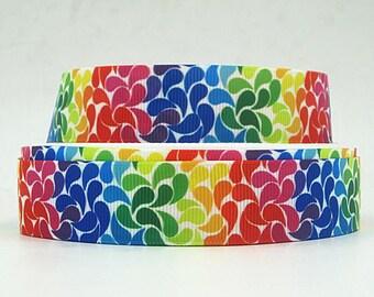 7/8 inch - COLORFUL LEAF Pattern  - S568 Printed Grosgrain Ribbon - Printed Grosgrain Ribbon for Hair Bow