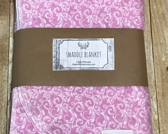 Pink Swaddle Blanket, Baby Girl, Newborn Wrap, Photo Prop, Flannel Shabby Chic, personalize