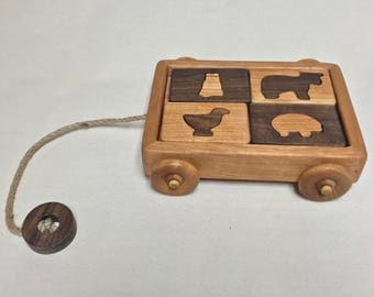 Farm Animal Puzzle Wagon