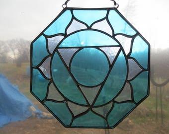 Throat Chakra Reiki Meditation Stained Glass Suncatcher