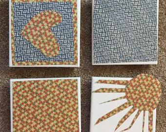Pattern Sun Heart Tile Coasters