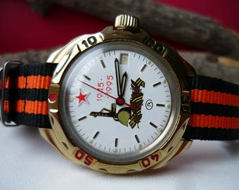 "Vintage wostok wrist watch ""Red star USSR Pobeda"" 1945 / men's watch Vostok / military Soviet watch / Mechanical watch / komandirskie vostok"