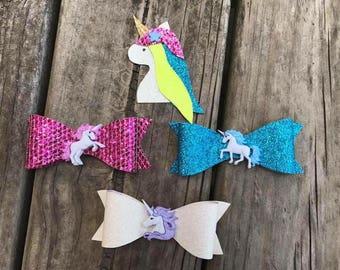 Unicorn sparkle hair bows