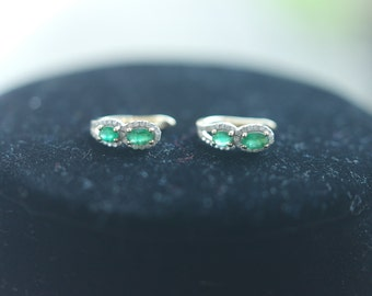 Colombian Emeralds and Diamond Earrings
