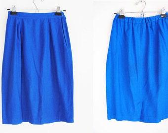 80s Raw Silk Skirt, Vintage Pencil Skirt, Electric Blue, High Waisted, Midi Skirt