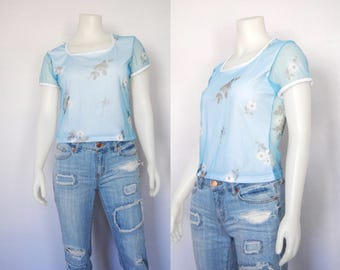 90s floral mesh top, vintage mesh cropped t-shirt -- square neckline, stretchy, cropped, see through, pastel blue, 1990s 90s clothing