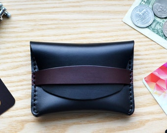 Flap Wallet in black Horween Horse Chromexcel leather. Small purse, cash and card holder with Burgundy strap