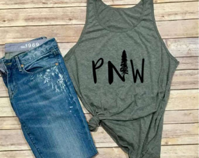 GRAY PNW Tank - Evergreen Tree - Mountains - Unisex Clothing - Pacific Northwest -  Women's Shirt - Men's Tank - Oregon - Washington State