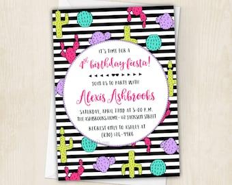 Birthday Fiesta - Cactus - Succulent - Invitation - Invite - Cactus Party - Stripes - Summertime - Black & White - Digital/Printable