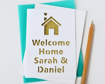 Personalised New Home Glitter Cut Out Card - New Home Card - Welcome Home Card - First Home Card - Moving In Card - House Buying