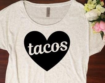 Taco shirt // Dolman style, Gift for her, You had me at tacos, Taco tuesday shirt, Taco tshirt, Holiday gift, I love tacos, Soft shirt